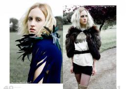 [sx] abito: le nou creazioni // collare di piume: stylist\'s own [dx] pelliccia: vintage // t-shirt: acid lab // cintura: invitro // calze: vintage
