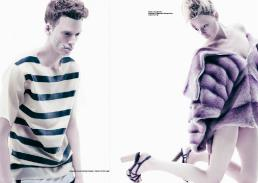 [sx] stripe latex top & stripe trousers // william richard green [dx] jacket // eliana dimitrakopoulou | shoes // stylist's own