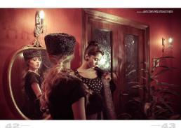 cappello // vintage | maglietta // space | gonna // borgonovo | orecchini // stylist's own | cappotto // borgonovo | abito pois // borgonovo