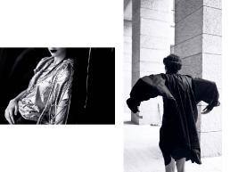 [sx] Blusa: Drome - Gilet: Anne Demeulemeester - Collane: Emanuele Bicocchi [dx] Chemisier: Wunderkind