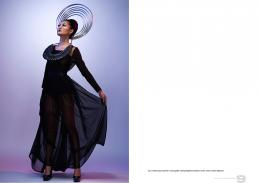 top // helmut lang   maxi skirt // oscar gutierr   tubing headpiece/necklace // ilanio   shoes // stuart weitzman