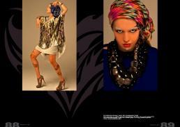 [sx] foulard in seta stampata // numph | abito in seta stampata // gestuz abito in raso opaco con collare // edo city by alessandra giannetti | bijoux // ex merceria | scarpe // pinko  [dx] foulard in seta stampata // stylist's own | canotta in jersey  // edo city by alessandra giannetti collane // archivio federica fioravanti