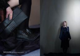 [sx] baguette e scarpe // invitro lab [dx] t-shirt // black button | cardigan in pelle e scarpe // invitro lab | gonna pizzo // stylist's own